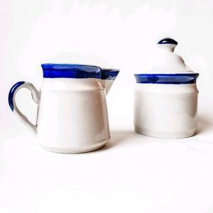 Vintage Stoneware Cream & Sugar Set